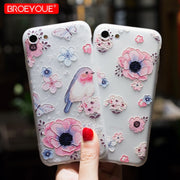 BROEYOUE Case For Samsung Galaxy S8 Plus Case Cover S7 Edge S9 Plus Cases Tempered Glass 3D Relief TPU Flowers Screen Protector