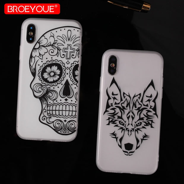 BROEYOUE Case For IPhone 8 3D Relief Ultra Thin TPU Soft Silicone Phone Case For IPhone 5 5S SE 6 6S 7 8 Plus Cover Fundas Coque