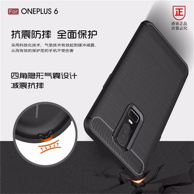 Back Covers For Oneplus 6 Carbon Fiber Phone Cases For Oneplus 6 Cover Anti-resistant Soft TPU For Oneplus 6 Protector Shells