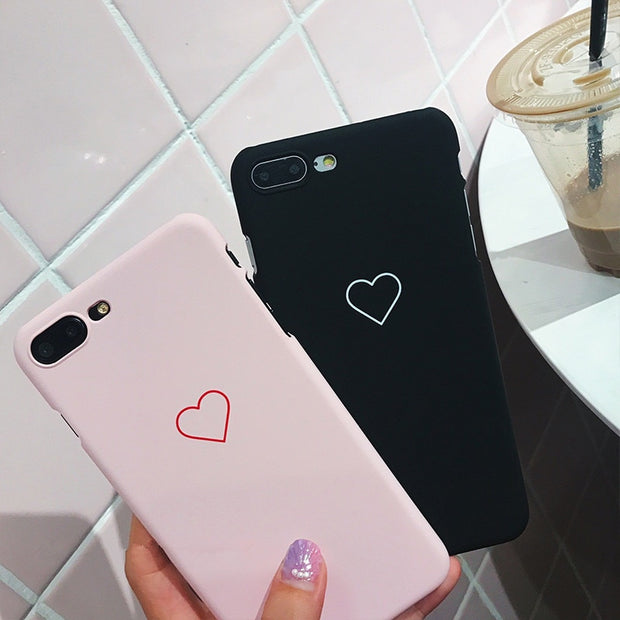 Black Love Heart Phone Case For IPhone X Xs Max XR Cases Candy Color Hard PC Back Cover For IPhone 5 5S SE 6 6S 7 8 Plus Case