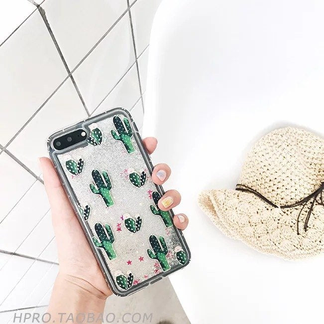 Bling Glitter Dynamic Cactus Pineapple Liquid Quicksand Phone Back For 425991a3fae5