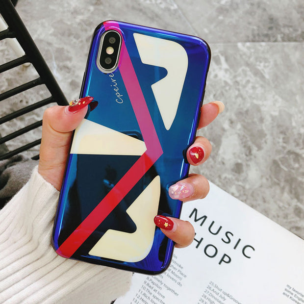 Blue Light Glossy Silicone Case For IPhone 8 Case IPhone 6S Plus Fitted Back Cover For IPhone X Coque IPhone 7 Plus Soft Case