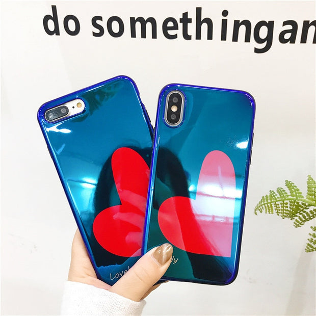 Blue Light Loving Heart Case For IPhone 8 Case Soft TPU Silicon Back Cover Coque For IPhone 6 6S Plus IPhone 7 7Plus X Capa Case