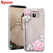 Byuoo 3D Bling Crystal Rhinestone Case For Samsung Galaxy S8 S9 A8+ 2018 A3 A5 A7 J3 J5 J7 2017 DIY Diamond Back Cover
