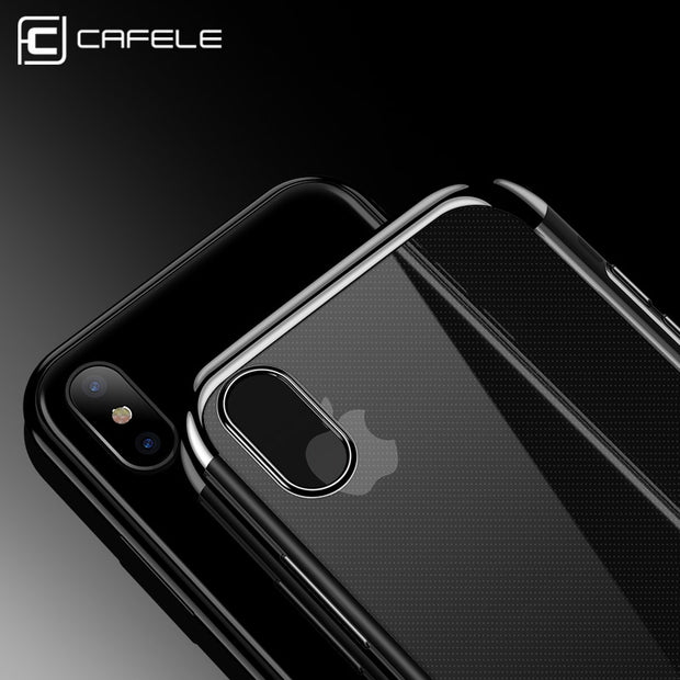 CAFELE Silicone Phone Case For IPhone X 10 Transparent TPU Plating Luxury Mobile Phone Back Shell For IPhone X Soft Case Cover