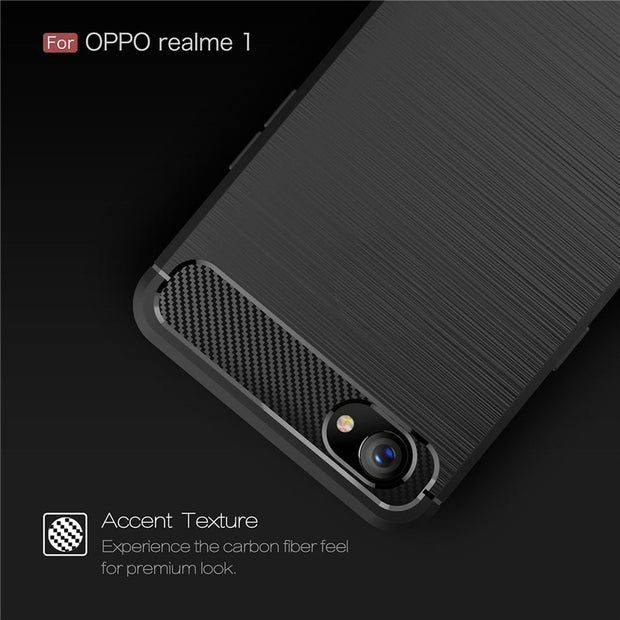 Carbon Fiber Case For OPPO REALME 1 Luxury Ultra Slim Soft TPU Silicone Shockproof Back Cover For F7 Youth Full Protective Coque