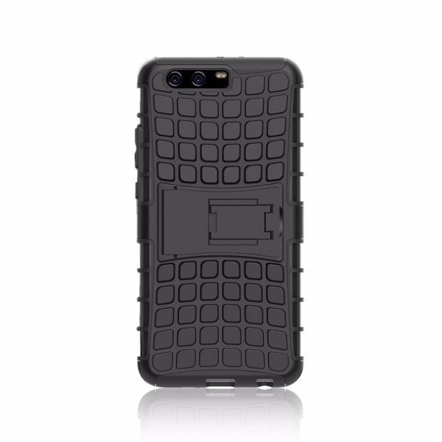 Case For Huawei P10 Plus Tire Hard Cover Heavy Duty Protection Hybrid Shockproof Dual Layer Cover With Stand