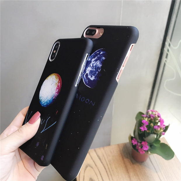 Case For Iphone 7 Simple Earth Space Star Moon Couple Phone Case For Iphone 6 6s 8 Plus X Matte Hard PC Shockproof Back Covers