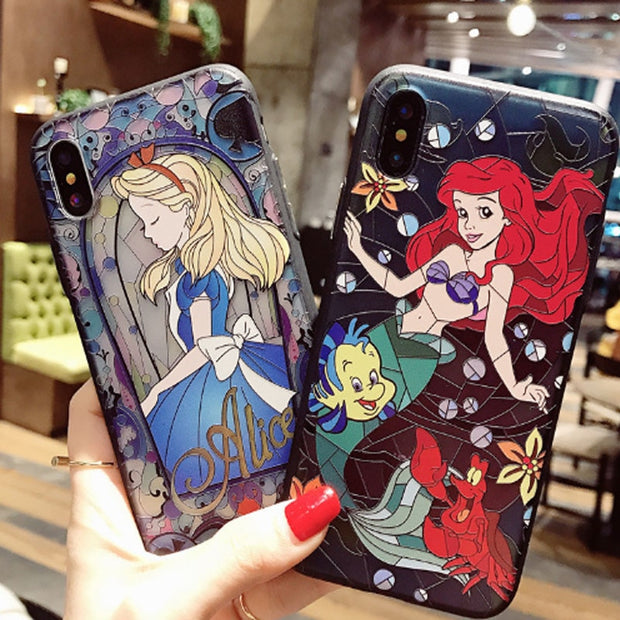 Case For IPhone 7 6 6S Plus Cartoon Matte 3D Relief Cute Mermaid Princess Phone Hard PC Cover Back For IPhone X 7 8 Plus
