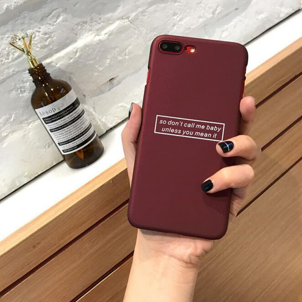 Case For Iphone 7 Quote Simple Letter Green Wine Red Plastic Phone Case Cover Coque For Iphone 6 6S 7Plus 6 S 6Plus 8 8Plus