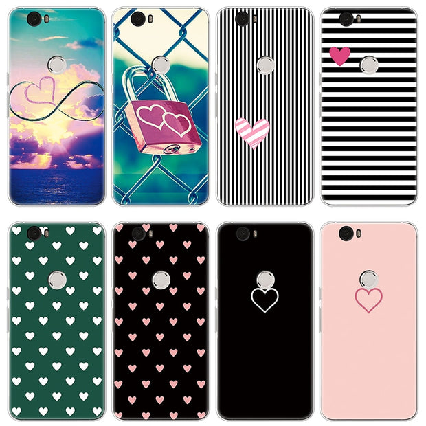 Case For Fundas Huawei Nexus 6P Case Heart Love Fashion Silicone Luxury Soft TPU Cover For Google Nexus 6P Phone Case Protection