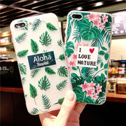 Case For Iphone 7 Summer Fresh Style Beautiful Green Leaf Pink Flower Case For Iphone X 8 6 6S Plus TPU Soft Silicone Back Cover