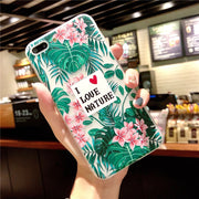 Cases For Iphone 8 ALOHA Hawaii Green Leaf Phone Cases For Iphone 8 Plus Pink Flowers Plant Soft Silicone TPU Back Covers Shells