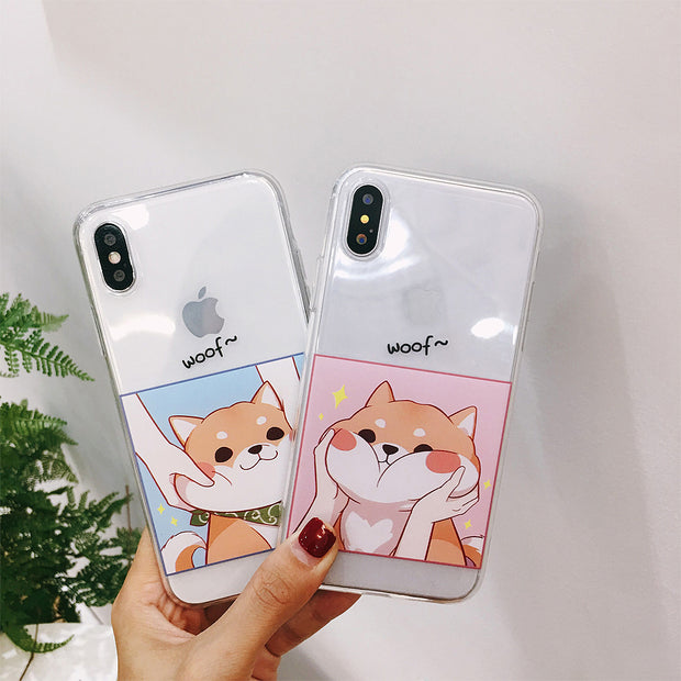 Cases For IPhone 7 Cute Catoon Shiba Inu Couples Phone Case For IPhone 6s 8 Plus X Soft Transparent TPU Phone Back Covers Fundas