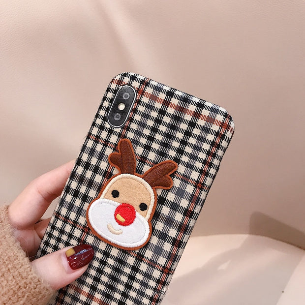 Christmas Cute Elk Phone Case For Iphone XS Max XR X Case For Iphone 6 6s 7 8 Plus Back Cover Fashion Grid Pattern Cases Capa