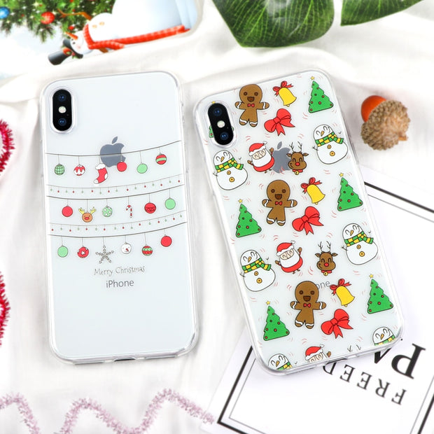 Christmas Tree Man Cute Cartoon Phone Case For IPhone 7 6 6S Plus 5 5S SE 5C 4 4S Slim Back Cover Soft TPU Cases For IPhone X