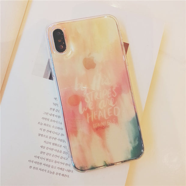 Color Love Star Simple Case For IPhone 6 6s 7 8 Plus Blue Light Case For IPhone X 10 Xr Xs Max Transparent Soft Tpu Silicon Case