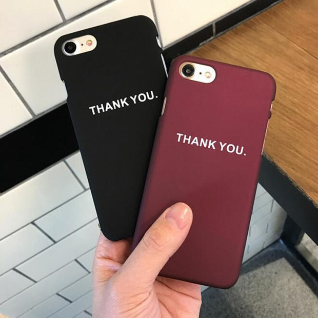 Coque For Iphone 7 Vintage Thank You Letters PC Hard Plastic Case For Iphone 6 S 6S 6Plus 7 7Plus 8Plus 8 Plus Phone Case