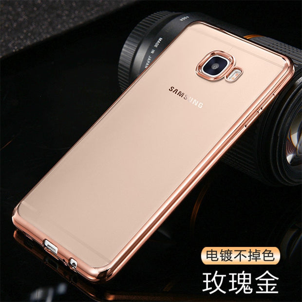 Coque For Samsung Galaxy S8 Plus S7 S6 Edge A3 A5 2017 A7 J7 J3 2016 J5 Prime Case Clear Transparent Plating Soft TPU Back Cover