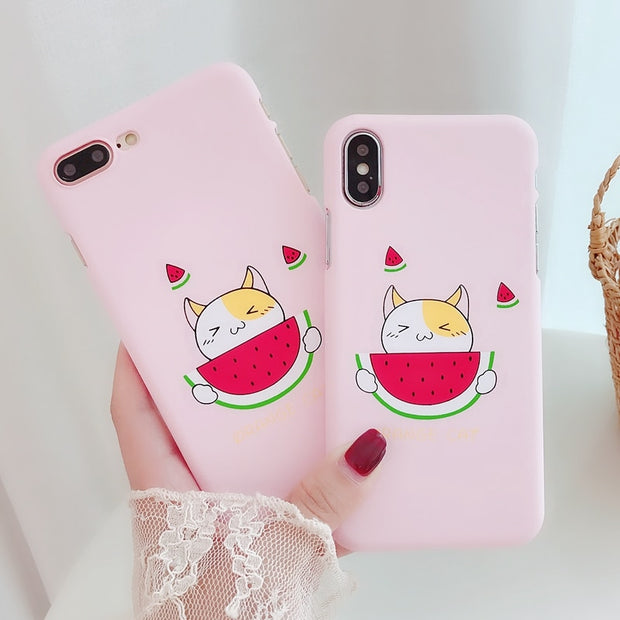 Coque For IPhone 7 Case Cute Cat Painted Phone Case Cover Funda On For IPhone X 10 IPhone 6 6S 7 8 Plus Case Women Korean Style