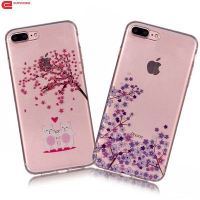 Cover For Iphone 6 6S Plus Case Anti-Skid Colorful Flower Soft TPU Transparent Case For Iphone 7 Plus Cover For Iphone 8 Plus