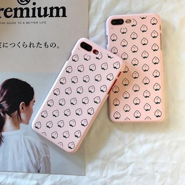 Cover For Iphone 7 Lovely Pink Little Peach PC Hard Plastic Case For Iphone 6 S 6S 6Plus 7 7Plus 8Plus 8 Plus X Phone Case