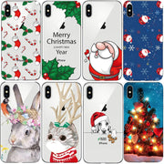 Crystal Clear Christmas Santa Claus For Apple IPhone X Case Transparent Clear Soft TPU Back Cover Coque Fundas For IPhone 8 Plus