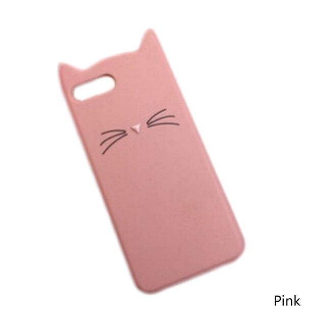 Cute 3D Cartoon Beard Cat Kitty PC Cover Glitter Phone Case Fundas Coque For Iphone
