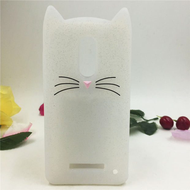 Cute 3D Cartoon Beard Cat Silicon Back Cover Phone Cases For Xiaomi Redmi Note 4x Cover For Xiaomi Redmi Note 3 4 Case