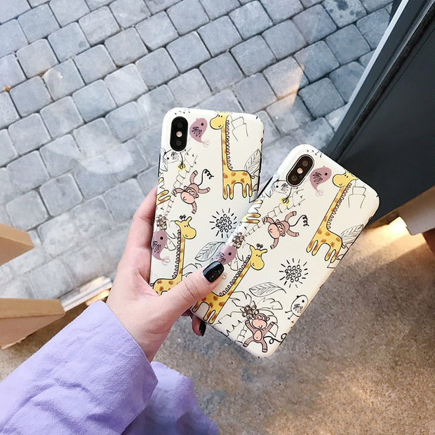 Cute Animal Painting Phone Case For Iphone 6 6s 7 8 Plus Case For Iphone X 7 Back Cover Cartoon Monkey Giraffe Soft Cases Capa