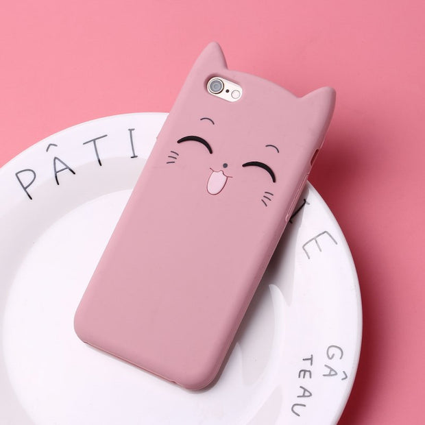 Cute Cartoon Animal Cat Ear Phone Case For IPhone 5 5S Se 6 6S 7 8 Plus X Cover Silicone Soft TPU Fundas Coque For IPhone 6 Case