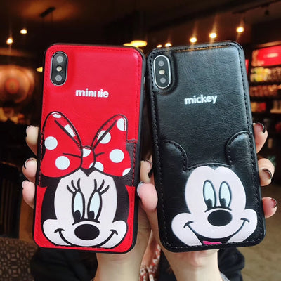 Cute Cartoon Mickey Mouse Minnie Case For IPhone X Xs Max XR 8 7 6 6s Plus Luxury Leather Card Wallet Cover Couple Package Coque