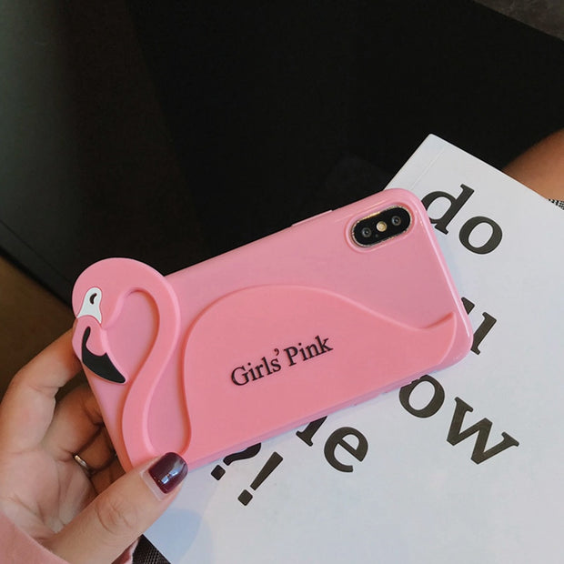 Cute Girl Pink Flamingo Phone Case For Iphone X Case For Iphone 6 6s 7 8 Plus Back Cover Fashion Cartoon Soft Cases Glossy Capa