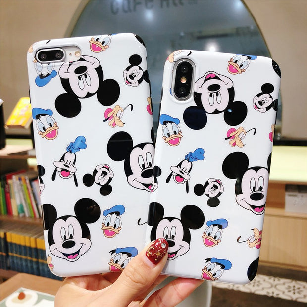 Cute Luxury Mickey Minnie Phone Cases Cover + Cartoon Same Tempered Glass Suit Cover For Iphone 6 6S 7 8 Plus X Cover Fundas
