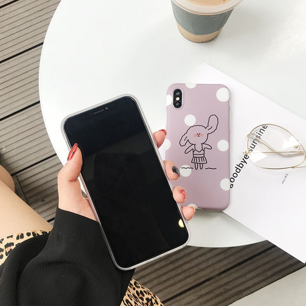 Cute Rabbit Painting Phone Case For Iphone 6 6s 7 8 Plus Case For Iphone X Back Cover Fashion Wave Point Cartoon Soft Cases Capa