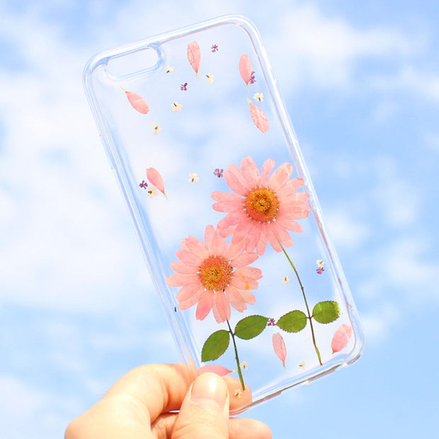 timeless design 951df a16fd DIY Dried Real Flower Phone Cases For Iphone 7 6 6s Plus Case Cute Floral  Transparent Clear Ultra Slim Soft TPU GEL Back Cover