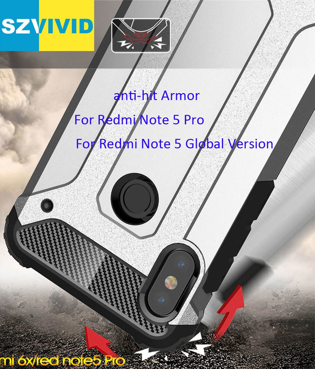 Defender Drop Resistance Anti Hit Case For Xiaomi Redmi Note 6 Pro Rugged Hybrid Armor Shield Cover
