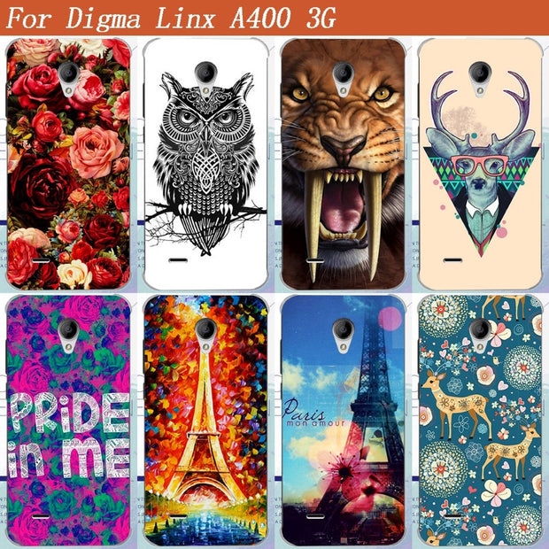Digma Linx A400 3g Case Cover Cool Pattern Painting Colored Tiger Owl Rose Eiffel Towers Soft Tpu Case For Digma Linx A400 Cover