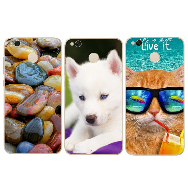 Durable Ultra Thin Soft Cute Dog Cat Phone Case For Xiaomi Redmi 3 3S 4A 4X 4 4S Mi A1 Mi 5X Note 3 4 4X 5A Case Back Cover