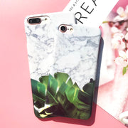 EKONEDA Chic Marble Leaves Case For IPhone 7 Plus Case IPhone 8 Plus Glossy Plastic Phone Cover For IPhone 6 6S Plus Case