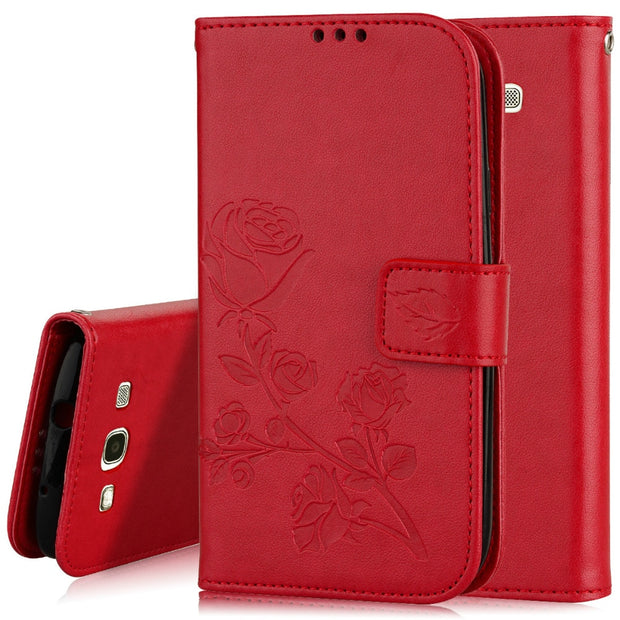 Embossed Rose Flip PU Leather Case For Coque Samsung Galaxy S3 Case Cover I9300 Case Fundas Coque Wallet Stand Cover Card Slot