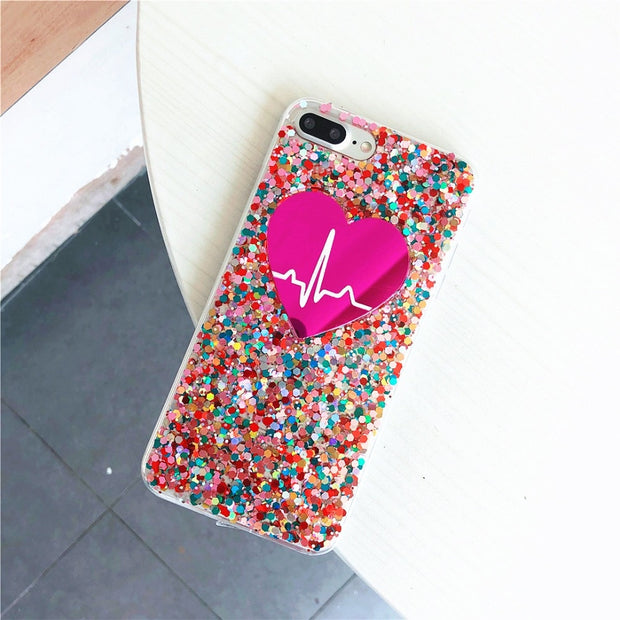 Fashion Bling Glitter Phone Case For Apple Iphone 7 8 6 6S Plus 8Plus Soft Silicone Cute Woman Cover For IPhone X TPU Case