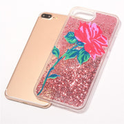 Fashion Bling Rose All Day Gold/Pink Glitters Quicksand Dynamic Back Clear Cover Case For IPhone8 6/6s 7plus Shell Protection