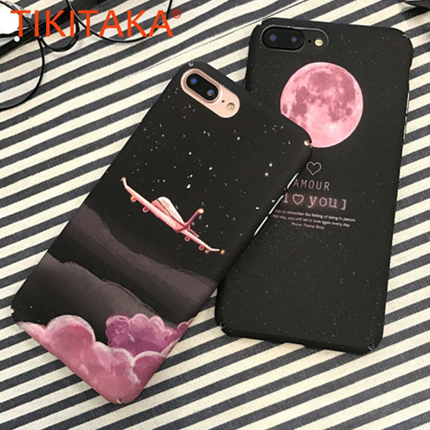 Fashion Cartoon Space Moon Cover For Iphone 7 Case Cute Candy Airplane Matte Hard Phone Cases For Iphone X 8 7 6 6s Plus Fundas