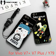 "Fashion Cute Cartoon Rubber Hard PC + TPU Back Cover Case For BBK Vivo V7+ V7 Plus/Y79 (5.99"") + Finger Ring Holder + Rope XS01"