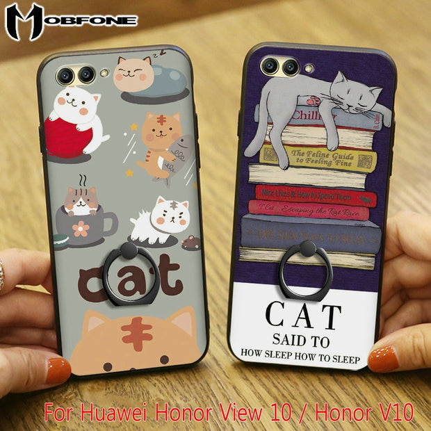 Fashion Cute Cartoon Rubber Hard PC + TPU Back Cover Case For Huawei Honor View 10 / Honor V10 + Finger Ring Holder + Rope XS01
