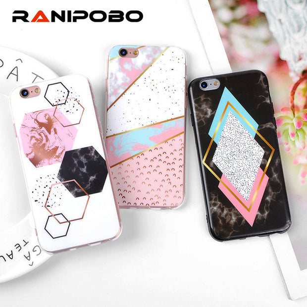 quality design 901c3 69c98 Fashion Geometric Marble Phone Case For Iphone 5 5S SE 6 6S 7 8 6 Plus 6S  Plus 7 Plus 8 Plus X Colorful Soft TPU Back Cover