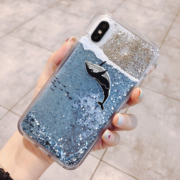 Fashion Girl For IPhone X 6 6S 7 8 Plus Case Whale Liquid Quicksand Silicone Cover For IPhone 6 6S 7 8 Plus X Phone Bag