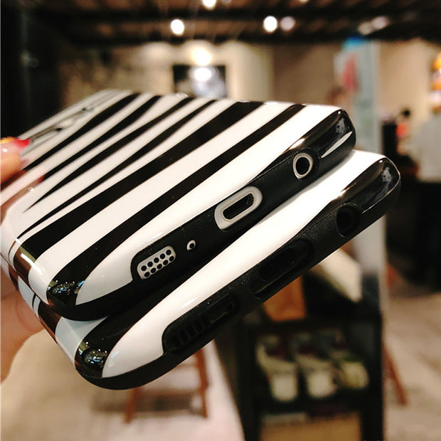Fashion Glossy Zebra Pattern Phone Case For Samsung S7 Edge S8 S8 Plus S9 S9 Plus Note 8 Cool Soft TPU Protection Back Cover