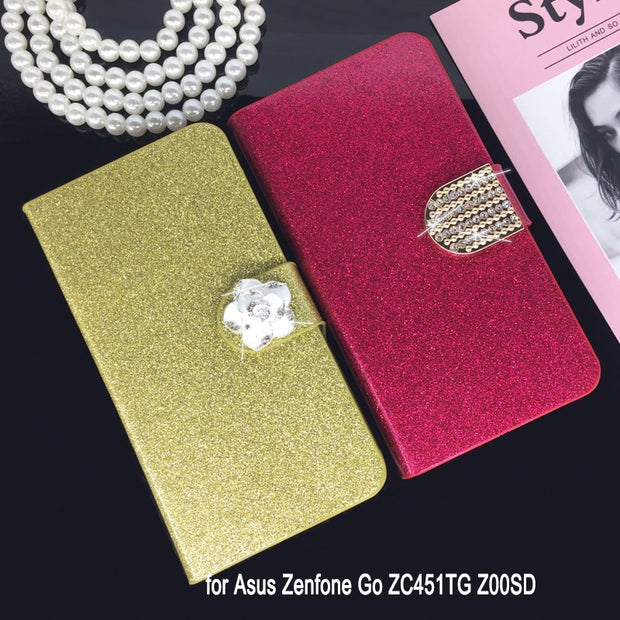 Flip Phone Case Cover For Asus Zenfone Go ZC451TG Z00SD Original Rhinestone Cases Bling Fundas Diamond Coque Glitter Capa